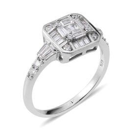 ELANZA Simulated Diamond (Bgt) Cocktail Ring in Rhodium Overlay Sterling Silver