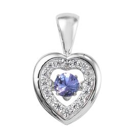 Tanzanite (Rnd) and Natural White Cambodian Zircon Heart Pendant in Platinum Overlay Sterling Silver