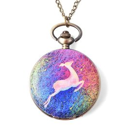 STRADA Japanese Movement Magical Deer Pattern Water Resistant Pocket Watch with Chain (Size 31) in B