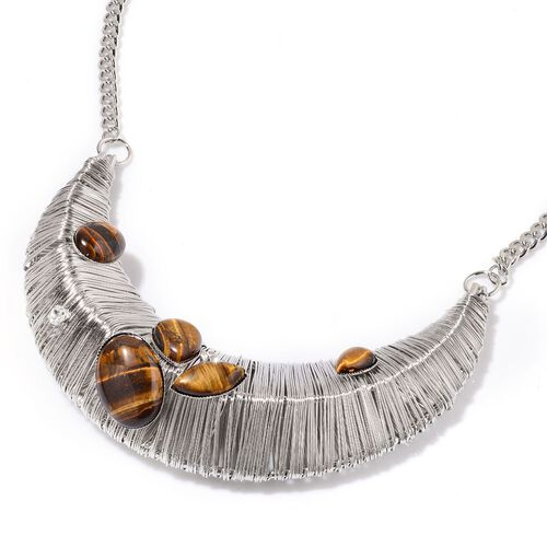 Tigers Eye and White Austrian Crystal Necklace (Size 18 with 2 inch Extender) in Silver Tone