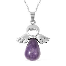 22 Carat Amethyst Solitaire Pendant with Chain in Stainless Steel