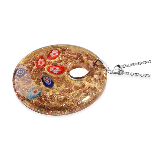 Champagne Murano Glass Pendant with Chain (Size 24) in Rhodium Overlay Sterling Silver and Stainless Steel