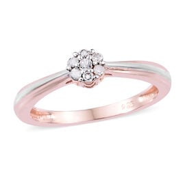 Diamond (Rnd) Ring in Rose Gold and Platinum Overlay Sterling Silver