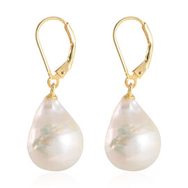 Baroque Edison Pearl Lever Back Earrings in Yellow Gold Overlay Sterling Silver
