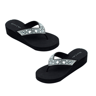 Thomas Calvi Wedge Heel Summer Sandals in Black Colour (Size 4)