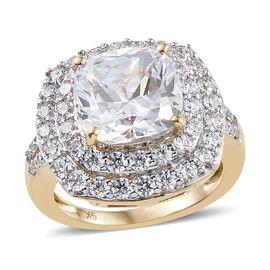 J Francis Made with Swarovski Zirconia Halo Ring in 9K Gold 4.84 Grams