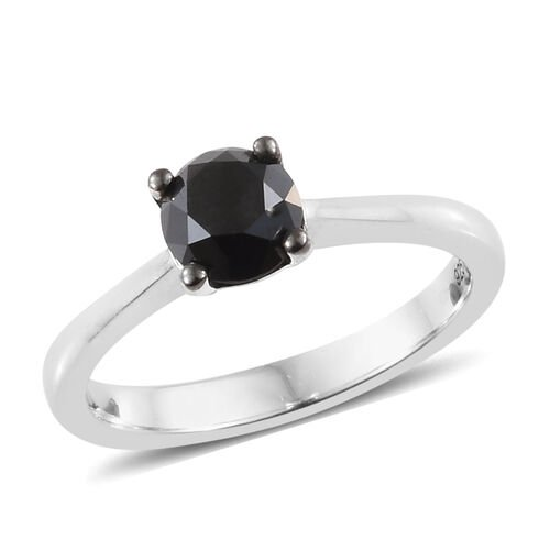 Black Diamond (Rnd) Solitaire Ring in Platinum Overlay Sterling Silver 1.000 Ct