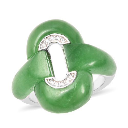 Green Jade and Natural Cambodian Zircon Ring in Rhodium Overlay Sterling Silver 13.32 Ct.