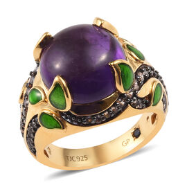 GP 7.75 Ct African Amethyst and Multi Gemstone Classic Ring in 14K Gold Plated Silver