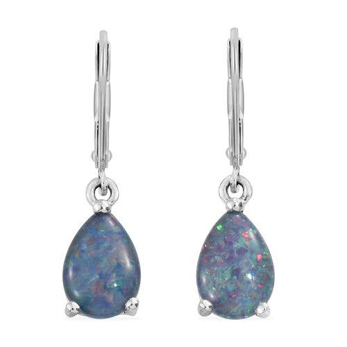 Australian Boulder Opal (Pear) Lever Back Earrings in Platinum Overlay Sterling Silver.