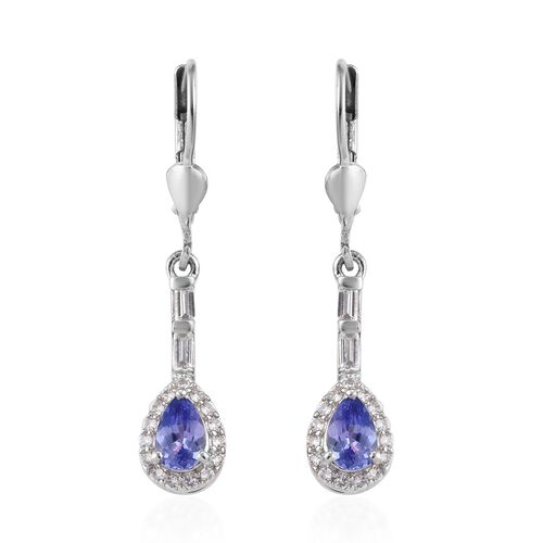 1.50 Ct Tanzanite and Zircon Dangle Earrings in Platinum Plated Sterling Silver