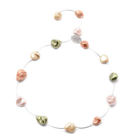 Multi Colour Shell Pearl and Simulated Diamond Adjustable Necklace (Size 18) in Silver Tone