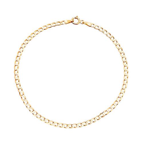 9K Yellow Gold  Hollow Figaro Bracelet (size 7) ,  Gold Wt. 0.70 Gms