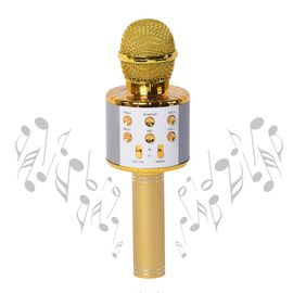 Smart Karaoke Mic with Multi Features in Gold Colour