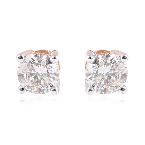 1 Carat Diamond Stud Solitaire Earrings in 14K Yellow Gold SGL Certified I1 I2 GH
