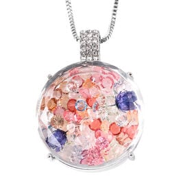 Simulated Diamond and White Austrian Crystal Dried Flower Locket Pendant with Chain in Silver Tone
