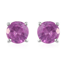 Hot Pink Sapphire Stud Earrings (with Push Back) in Platinum Overlay Sterling Silver 1.50 Ct.
