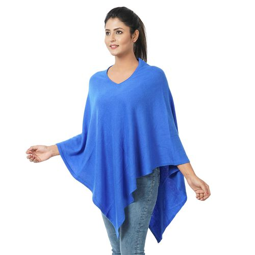 Limited Available - 100% Cashmere  Wool Poncho - Classic Blue Colour (Free Size 70x70Cm)