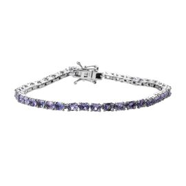 Tanzanite (Ovl) Bracelet (Size 7) in Platinum Overlay Sterling Silver 7.00 Ct, Silver wt 7.40 Gms