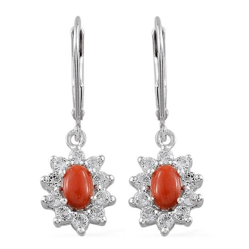 Mediterranean Coral (1.00 Ct),White Topaz Platinum Overlay Sterling Silver Earring  1.750  Ct.