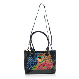 Japanese Art Collection 100% Genuine Leather  Hand Painted Navy Blue and Multi Colour Embossed Japan