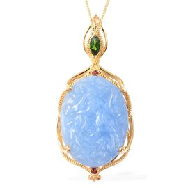 29.31 Ct Magpie Bird Carved Blue Jade and Multi Gemstone Pendant with Chain in Gold Plated Silver