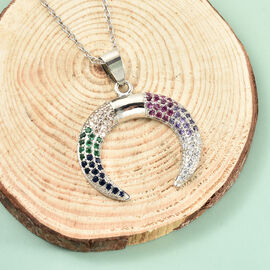 Simulated Multi Gemstone Crescent Moon Pendant with Chain (Size 20 with 2.5 inch Extender) in Silver Tone