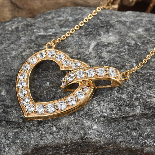 J Francis - 14K Gold Overlay Sterling Silver (Rnd) Heart Necklace with Chain (Size 18) Made with SWAROVSKI ZIRCONIA, Silver wt 5.56 Gms.