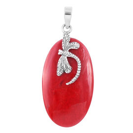 Royal Bali Collection- Sponge Coral (Ovl) Dragonfly Pendant in Sterling Silver