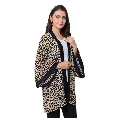 Black and Khaki Colour Leopard Pattern Kimono (Size 80x75 Cm)