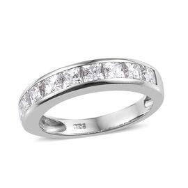 J Francis -Platinum Overlay Sterling Silver (Sqr) Half Eternity Ring Made With SWAROVSKI ZIRCONIA