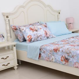 6 Piece Set - Blue Colour Floral Pattern Duvet Cover (Size 200x200 Cm), Fitted Sheet (Size 190x140+3
