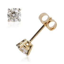 ILIANA 18K Yellow Gold IGI Certified (SI2/H) Diamond (Rnd) Stud Earrings (with Push Back) 0.500 Ct.