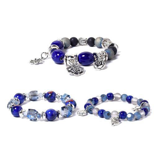 Designer Inspired Set of 3 Multi Colour Beads Bracelet (Size 6.50-9) with Multi Charm