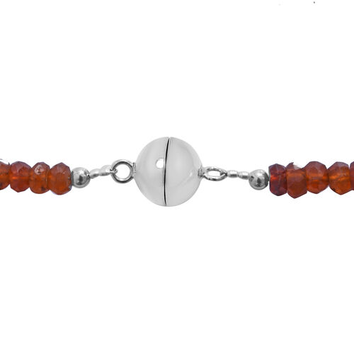Ratnapura Hessonite Garnet (Rnd) Beads Necklace (Size 20) with Magnetic Lock in Rhodium Overlay Sterling Silver 120.00 Ct.