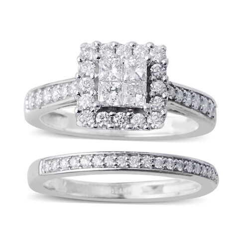 Set of 2 14K White Gold (I1/G-H) Diamond (Sqr) Ring 1.000 Ct, Gold wt 5.80 Gms.