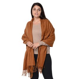 Wool Blend Stripe Pattern Winter Scarf with Tassels (Size 70x180 Cm) - Camel