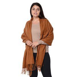 Wool Blend Stripe Pattern  Scarf with Tassels (Size 70x180 Cm) - Camel