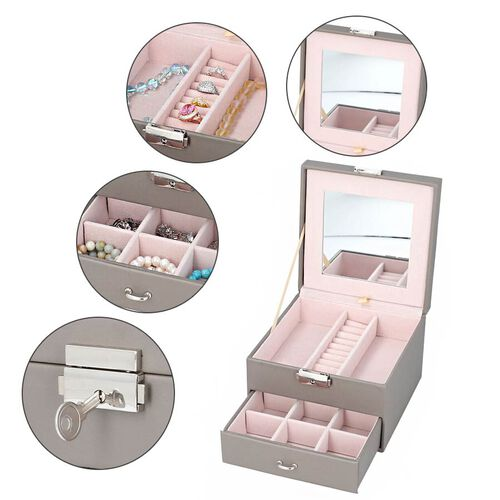 Two Layer Jewellery Box with Extendable Mirror in Dark Grey