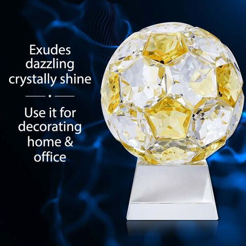 Collectors Edition - Crystal Football with Base (Size 7x14 Cm) - Yellow Sapphire Colour