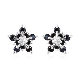 0.75 Ct Boi Ploi Black Spinel Star Stud Earrings in Sterling Silver