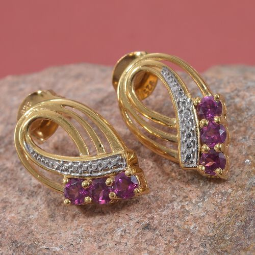 Rhodolite Garnet (Rnd) Earrings (with Push Back) in 14K Gold Overlay Sterling Silver 1.00 Ct.