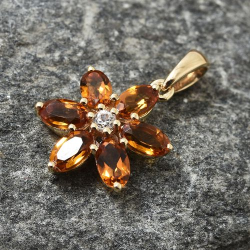 9K Yellow Gold AA Madeira Citrine (Ovl), Natural Cambodian Zircon Floral Pendant 1.350 Ct.