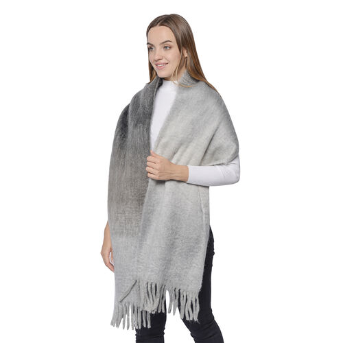 Soft and Lightweight Scarf with Small Fringes (Size 45x210+20cm) - Grey