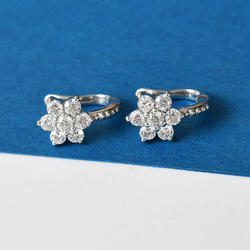 J Francis Platinum Overlay Sterling Silver Floral Hoop Earrings (with Clasp) Made with SWAROSVKI ZIRCONIA 2.00 Ct.