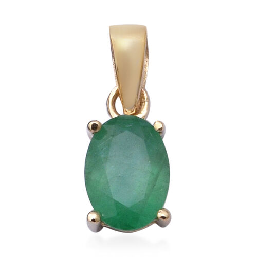 9K Yellow Gold Kagem Zambian Emerald(Ovl 7x5) Solitaire Pendant