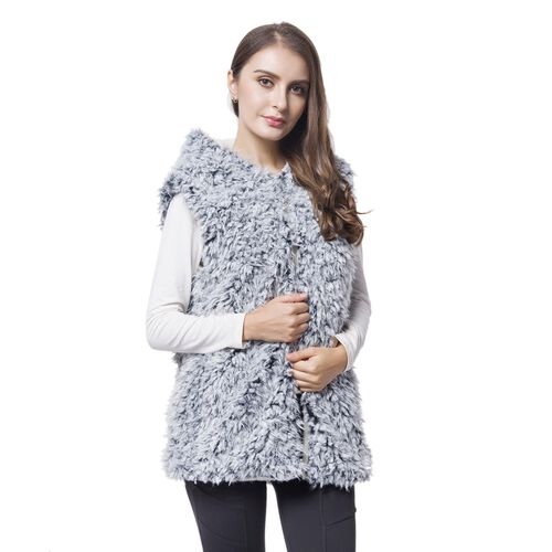 Close Out One Time Deal- Black and White Colour Faux Fur Hoodie Reversible Gilet (Size 70X50 Cm)