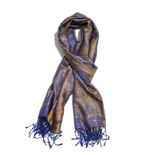 SILK MARK - 100% Superfine Silk Purple, Golden, Green and Multi Colour Floral and Paisley Pattern Ja
