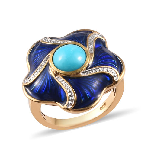 1 Carat Arizona Sleeping Beauty Turquoise Enamelled Floral Ring in Gold Plated Sterling Silver