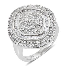 1 Carat Diamond Cluster Ring in Platinum Plated Sterling Silver 5.07 Grams